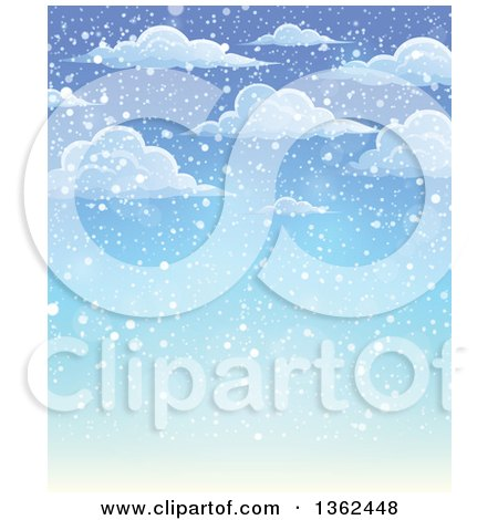 Clipart of a Background of Snow Falling from Clouds over Blue Sky - Royalty Free Vector Illustration by visekart