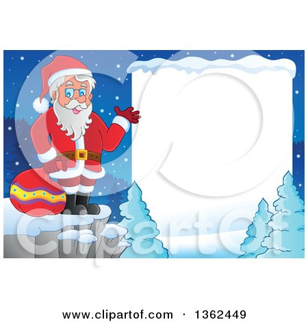 Christmas Santa Claus Presenting On A Cliff In Winter Landscape With White Text Space