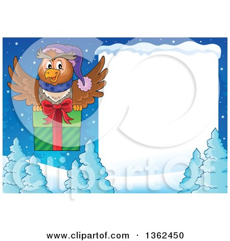 Clipart of a Cartoon Christmas Owl Flying a Gift over Snow Covered Evergreens and a Blank Sign - Royalty Free Vector Illustration by visekart