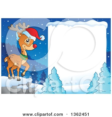 Clipart of a Christmas Rudolph Reindeer on a Cliff over a Winter Landscape and Blank Sign - Royalty Free Vector Illustration by visekart
