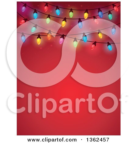 Clipart of a Colorful Christmas Lights over Red with Text Space - Royalty Free Vector Illustration by visekart