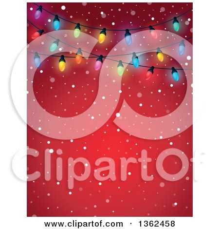 Clipart of a Background of Colorful Christmas Lights over Red with Snow and Text Space - Royalty Free Vector Illustration by visekart