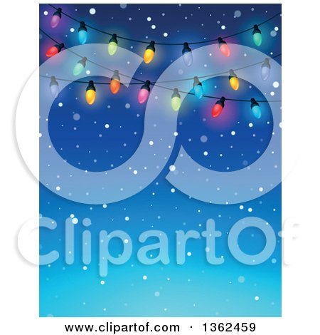 Clipart of a Background of Colorful Christmas Lights over Blue with Snow and Text Space - Royalty Free Vector Illustration by visekart