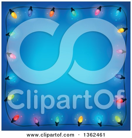 Clipart of a Border of Colorful Christmas Lights over Blue with Text Space - Royalty Free Vector Illustration by visekart