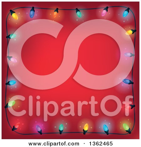 Clipart of a Border of Colorful Christmas Lights over Red with Text Space - Royalty Free Vector Illustration by visekart