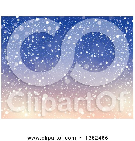 Clipart of a Background of Snow Falling over Gradient Blue and Pink Sky - Royalty Free Vector Illustration by visekart