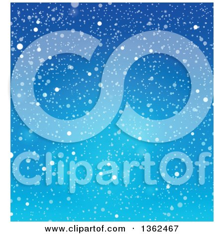 Clipart of a Background of Snow Falling over Blue Sky - Royalty Free Vector Illustration by visekart