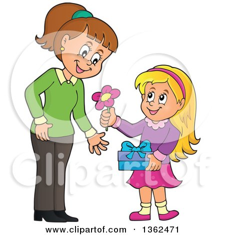 Clipart of a Cartoon Thoughtful Blond Caucasian Girl Giving Her Mom a Flower on Mothers Day - Royalty Free Vector Illustration by visekart