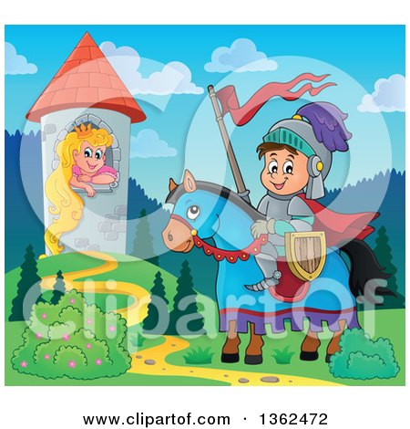 Clipart of a Cartoon Happy Knight Boy on a Horse near a Princess, Rapunzel, in a Tower - Royalty Free Vector Illustration by visekart