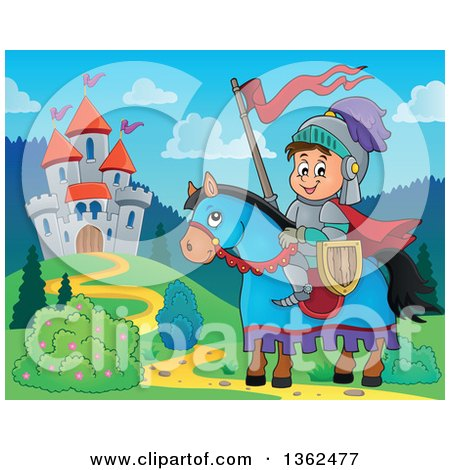 Clipart of a Cartoon Happy Knight Boy on a Horse near a Castle - Royalty Free Vector Illustration by visekart