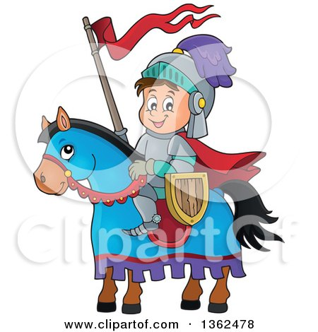 Clipart of a Cartoon Happy Knight Boy on a Horse - Royalty Free Vector Illustration by visekart