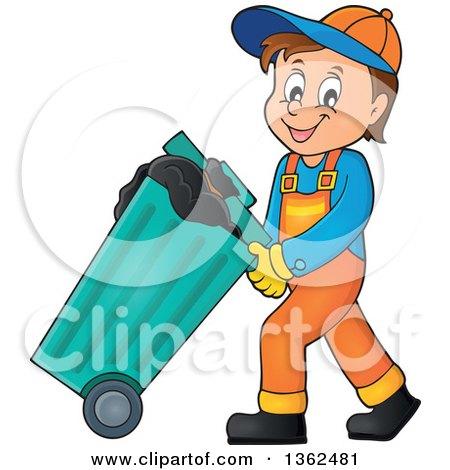 Clipart Of A Cartoon Caucasian Garbage Man Pushing