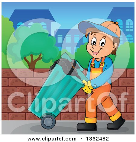 Clipart of a Cartoon Caucasian Garbage Man Pushing a Rolling Trash Bin on a Sidewalk - Royalty Free Vector Illustration by visekart