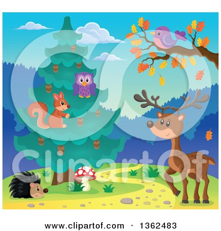 Squirrel and Owl in an Evergreen Tree, with a Deer, Purple Bird and Hedgehog Posters, Art Prints
