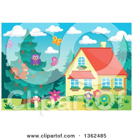 Clipart of a Squirrel, Owl and Bluebird in an Evergreen Tree near a Cottage - Royalty Free Vector Illustration by visekart