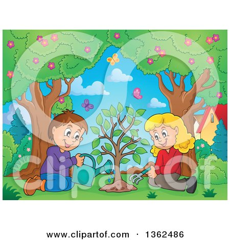 Clipart of a Cartoon Caucasian Boy and Girl Planting a Tree Together, with Butterflies Flying over Them - Royalty Free Vector Illustration by visekart