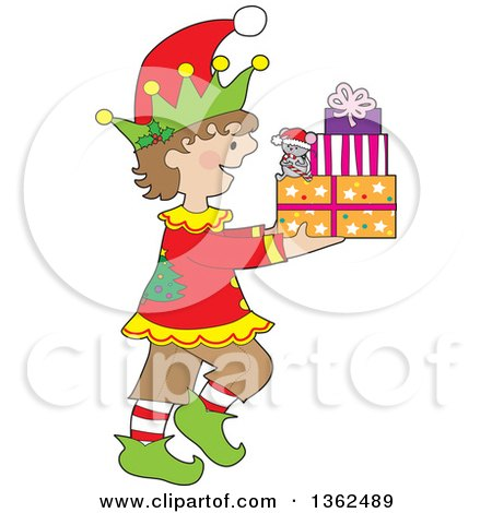 Clipart of a Cartoon Happy Christmas Elf Walking to the Right and Carrying a Mouse and Presents - Royalty Free Vector Illustration by Maria Bell