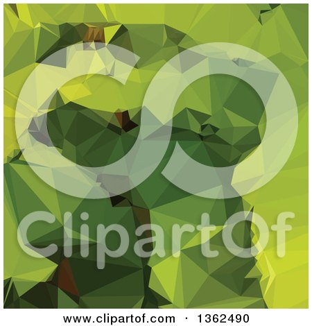 Clipart of an Avocado Green Low Poly Abstract Geometric Background - Royalty Free Vector Illustration by patrimonio