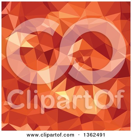 Clipart of an Atomic Tangerine Orange Low Poly Abstract Geometric Background - Royalty Free Vector Illustration by patrimonio