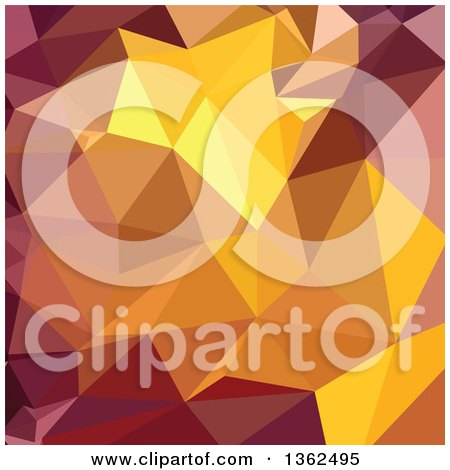Clipart of a Golden Poppy Yellow Low Poly Abstract Geometric Background - Royalty Free Vector Illustration by patrimonio