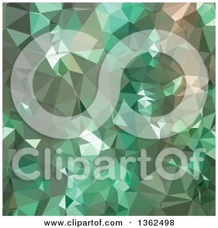 Clipart of a Caribbean Green Low Poly Abstract Geometric Background - Royalty Free Vector Illustration by patrimonio