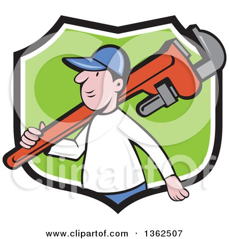 Clipart of a Cartoon White Male Plumber Holding a Giant Monkey Wrench over His Shoulder in a Black White and Green Shield - Royalty Free Vector Illustration by patrimonio