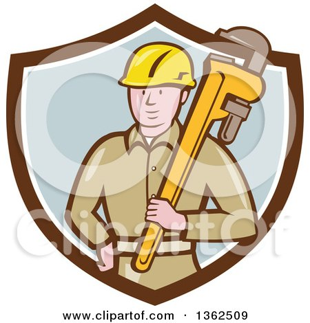 Clipart of a Retro Cartoon White Male Plumber Holding a Giant Monkey Wrench in a Brown White and Pastel Blue Shield - Royalty Free Vector Illustration by patrimonio