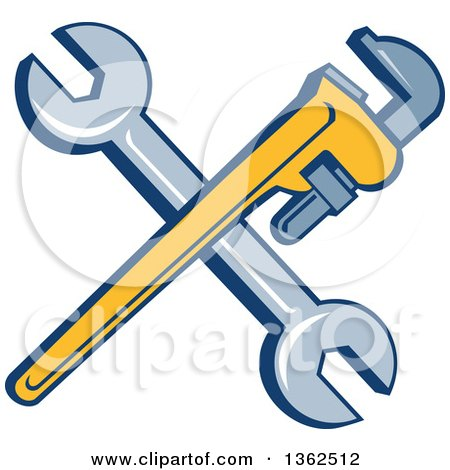 Clipart of Retro Crossed Spanner and Monkey Wrenches - Royalty Free Vector Illustration by patrimonio