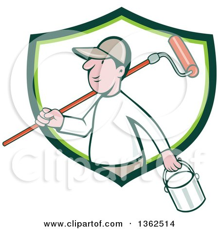 Retro Cartoon White Male Painter Carrying a Can and a Roller Brush over His Shoulder, Emerging from a Green and White Shield Posters, Art Prints