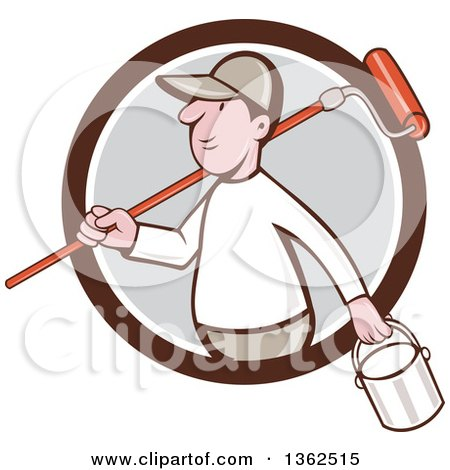 Retro Cartoon White Male Painter Carrying a Can and a Roller Brush over His Shoulder, Emerging from a Brown White and Gray Circle Posters, Art Prints
