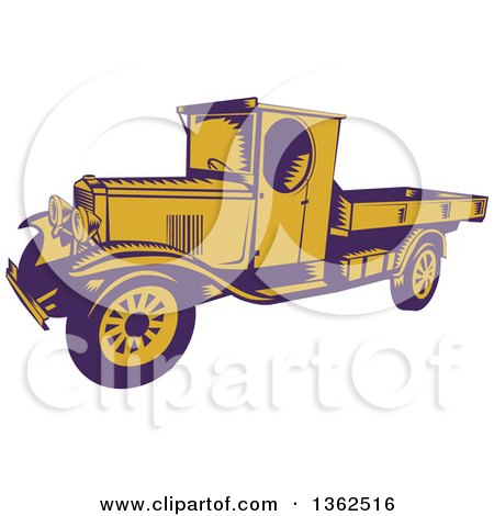 Clipart of a Retro Woodcut Purple and Yellow 1920s Pickup Truck with a Flatbed - Royalty Free Vector Illustration by patrimonio
