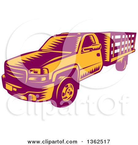 Clipart of a Retro Woodcut Maroon and Orange Pickup Truck - Royalty Free Vector Illustration by patrimonio