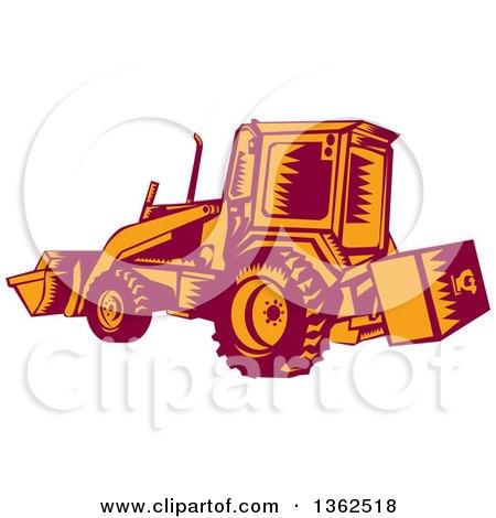 Retro Woodcut Maroon and Orange Excavator Machine Posters, Art Prints
