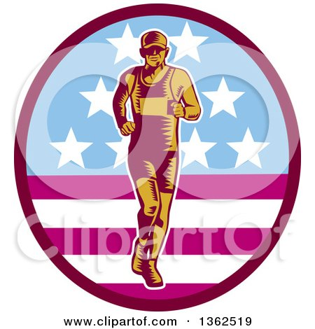 Clipart of a Retro Woodcut Male Marathon Runner in an American Oval - Royalty Free Vector Illustration by patrimonio