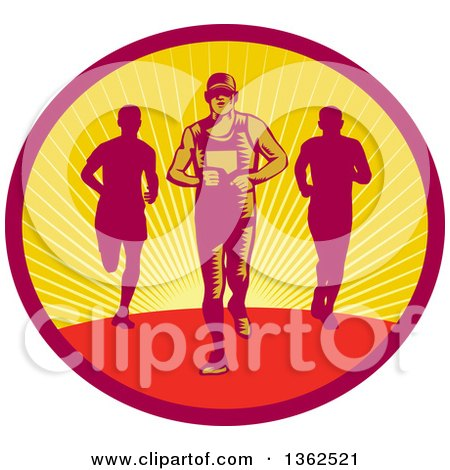 Retro Woodcut Male Triathlete or Marathon Runners in a Sunset Oval Posters, Art Prints