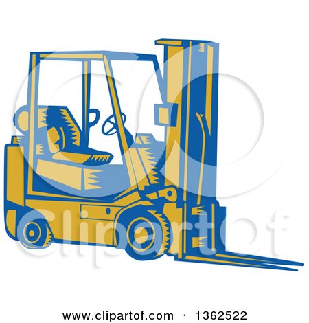 Clipart of a Retro Woodcut Blue and Yellow Forklift - Royalty Free Vector Illustration by patrimonio