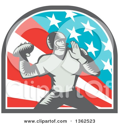 Clipart of a Retro Woodcut American Football Player Quarterback Throwing in an American Arch - Royalty Free Vector Illustration by patrimonio