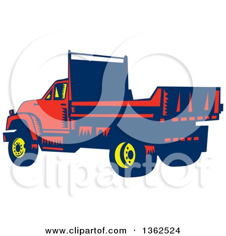 Clipart of a Retro Woodcut Yellow, Blue and Red Flatbed Truck - Royalty Free Vector Illustration by patrimonio