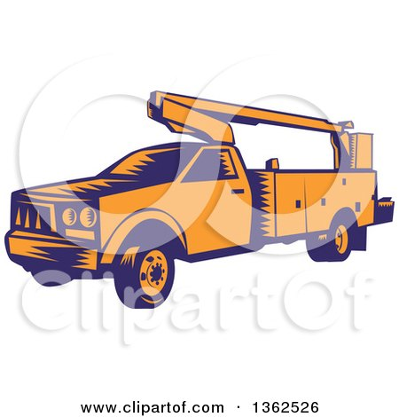 Clipart of a Retro Woodcut Orange and Blue Cherry Picker Lift Truck - Royalty Free Vector Illustration by patrimonio