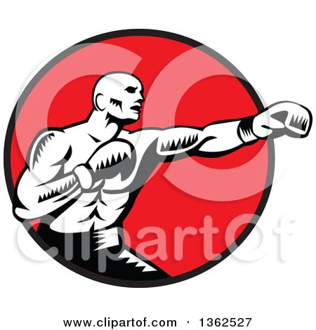 Clipart of a Retro Woodcut Black and White Male Boxer Jabbing in a Red Circle - Royalty Free Vector Illustration by patrimonio