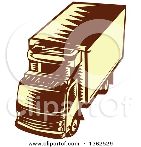 Clipart of a Retro Woodcut Brown and Yellow Refrigerated Big Rig Truck from Above - Royalty Free Vector Illustration by patrimonio