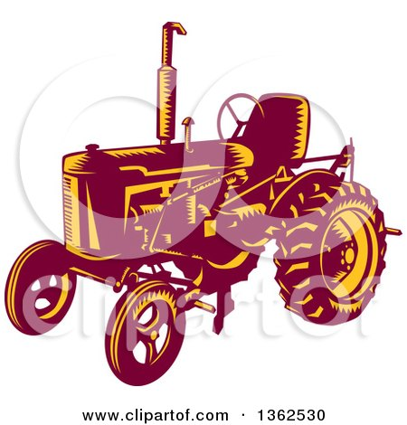 Clipart of a Retro Woodcut Maroon and Yellow Vintage Farming Tractor - Royalty Free Vector Illustration by patrimonio