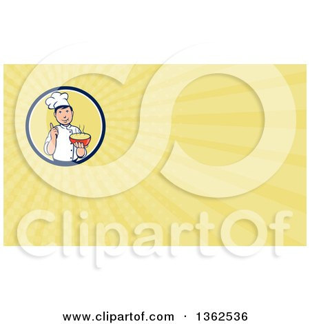 Clipart of a Retro Cartoon Male Chef Holding a Hot Bowl of Soup in a Circle and Yellow Rays Background or Business Card Design - Royalty Free Illustration by patrimonio