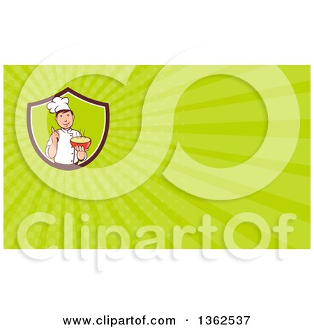 Clipart of a Retro Cartoon Male Chef Holding a Hot Bowl of Soup in a Shield and Green Rays Background or Business Card Design - Royalty Free Illustration by patrimonio
