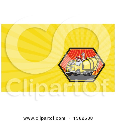 Clipart of a Cartoon Cement Truck Driver Waving in a Hexagon and Yellow Rays Background or Business Card Design - Royalty Free Illustration by patrimonio