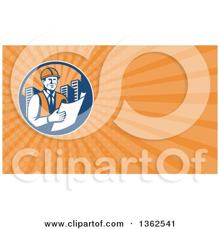 Clipart of a Retro Construction Engineer Reading Blueprints in a City Circle and Orange Rays Background or Business Card Design - Royalty Free Illustration by patrimonio