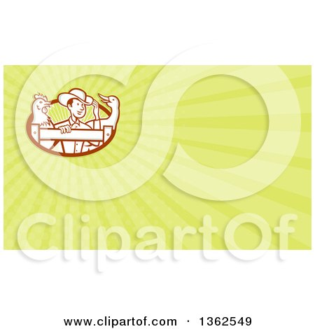 Clipart of a Retro Cartoon Male Farmer Looking over a Fence with a Goose and Chicken, in an Oval and Pastel Green Rays Background or Business Card Design - Royalty Free Illustration by patrimonio
