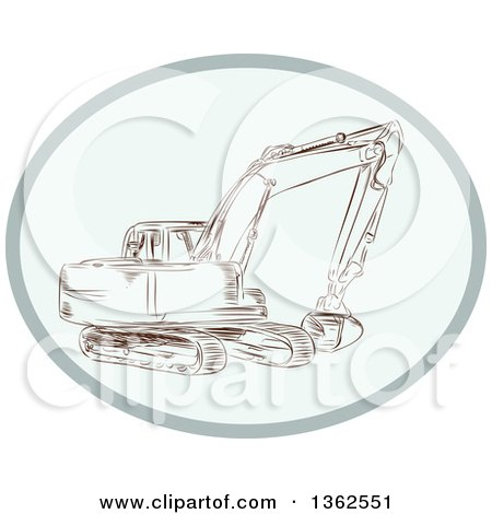 Sketched Mechanical Excavator in an Oval Posters, Art Prints