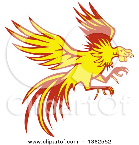 Clipart of a Retro Yellow and Red Flying Fighting Cock Rooster - Royalty Free Vector Illustration by patrimonio