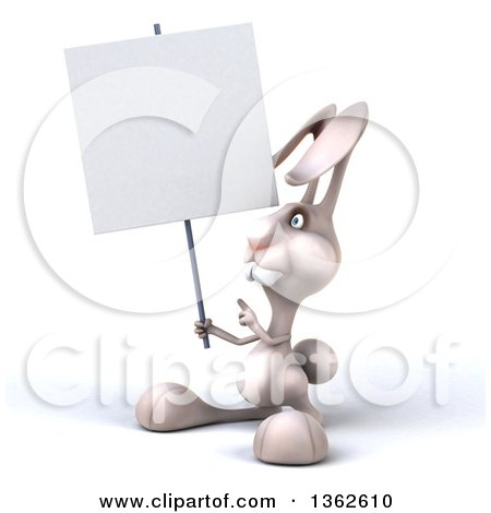 Clipart of a 3d White Bunny Rabbit Holding and Pointing to a Blank Sign, on a White Background - Royalty Free Illustration by Julos